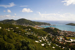 View of Charlotte Amalie. Mountiantop view of the harbor of Charlotte Amalie on the island of Saint Thomas in the U.S. Virgin Islands Stock Photo