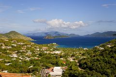 View of Charlotte Amalie, Saint Thomas, U.S. Virgin Islands. Mountaintop view of the harbor of Charlotte Amalie on Saint Thomas in the U.S. Virgin Islands royalty free stock photo