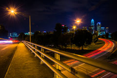 View of the Charlotte skyline from the Central Avenue Bridge, in Royalty Free Stock Images