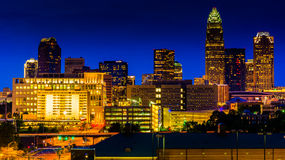 View of the Charlotte skyline at night, North Carolina. Stock Images