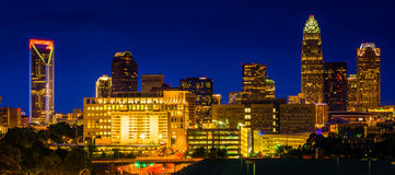 View of the Charlotte skyline at night, North Carolina. Royalty Free Stock Photography