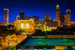 View of the Charlotte skyline at night, North Carolina. Stock Image
