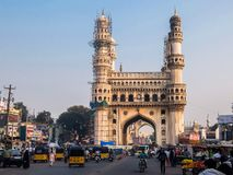 View of Charminar `Four Minarets`, constructed in 1591, is a monument and mosque located in Hyderabad, Telangana, India. royalty free stock image