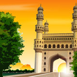 View of charminar, hyderabad, india, travel, road. View of charminar, hyderabad, india, with sunrise background Royalty Free Stock Images