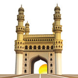 View of charminar, with sun and white background Stock Photography
