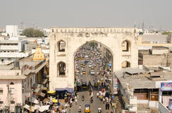 View from Charminar Tower. HYDERABAD, ANDHRA PRADESH, INDIA - JANUARY 10: view from Charminar tower of the busy bazaar of Hyderabad.  The city is a centre of the Stock Photo