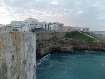 View of the charming seaside town of Polignano a Mare, Southern Italy. View of the charming seaside town of Polignano a Mare and its whitewashed buildings stock photos