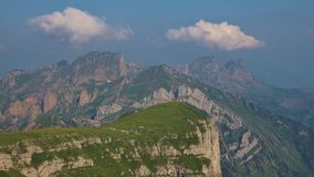View from Chaserrugg. Visible rock layers in the Churfirsten ran Royalty Free Stock Image