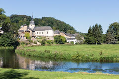View at Chassepierre, picturesque village in Belgian Ardennes at river Semois. Beautiful view at Chassepierre, picturesque village in Belgian Ardennes at river royalty free stock image