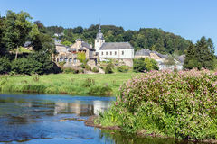View at Chassepierre, picturesque village in Belgian Ardennes at river Semois. Beautiful view at Chassepierre, picturesque village in Belgian Ardennes at river stock photo