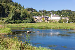 View at Chassepierre, picturesque village in Belgian Ardennes at river Semois Stock Photos