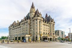 View at the Chateau of Laurier in Ottawa - Canada. OTTAWA,CANADA - JUNE 24,2018 - View at the Chateau of Laurier in Ottawa. Ottawa is the capital city of Canada stock photo