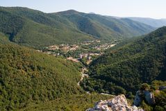View from Chateau Puilaurens. To Lavagnac Royalty Free Stock Image