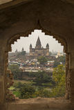View of Chaturbhurj Temple, Orcha. View of Chaturbhurj Temple from the Raja Mahal, Orcha, India Stock Photo