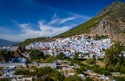 A view of Chefchaouen, Morocco. A view of the blue city of Chefchaouen in the Rif mountains, Morocco Stock Images