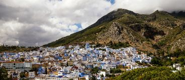 View on Chefchaouen in Morocco. Blue houses royalty free stock photography