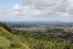 View of Cheltenham from Cleeve Hill. A view of the Cotswold town of Cheltenham from Cleeve Hill, the highest point in The Cotswolds Royalty Free Stock Photos