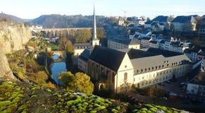 View from Chemin de la Corniche in the Luxembourg City. Royalty Free Stock Photo