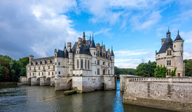 View at the Chenonceau chateau with river Cher Stock Images