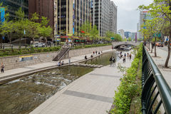 View of the Cheonggyecheon Stream in Seoul Royalty Free Stock Photography