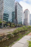 View of the Cheonggyecheon Stream in Seoul Stock Photography