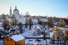 View of the Chernoostrovsky Orthodox convent in winter in the city of Maloyaroslavets, Russia. February 2017 royalty free stock images