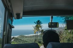 View of Cherry Tree Hill, Barbados, from a bus. stock images