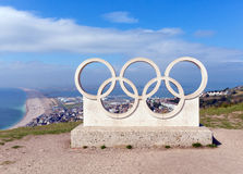 View of Chesil beach from the Olympic Rings on the Isle of Portland Dorset uk Stock Photo