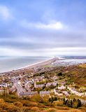 View of Chesil Beach. A view of the Chesil Beach from Portland, Dorset in the UK. This section of the beach forms a connection between Portland, a peninsula, and Royalty Free Stock Images