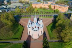 View of the Chesme Church on a sunny April day. Shooting with quadrocopter. Saint Petersburg, Russia. View of the Chesme Church on a sunny April day. Shooting Royalty Free Stock Photo