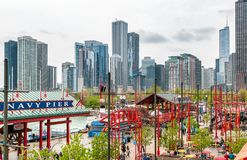 View of Chicago downtown from Navy Pier, which offers great city and Lake Michigan panorama. Stock Images