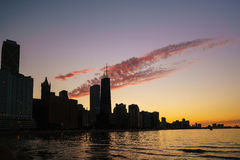 View of Chicago downtown skyline. At sunset silhouette Stock Photo