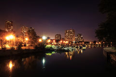 View on Chicago harbor at night with docks and boats Royalty Free Stock Image