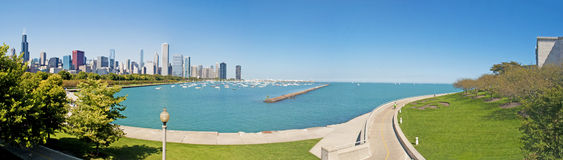 View of Chicago skyline seen from Northerly Island on September 22, 2014 Stock Photos
