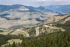 View of Chief Joseph Scenic Byway. View of the mountains and valleys along the Chief Joseph Scenic Byway in Wyoming Royalty Free Stock Photo