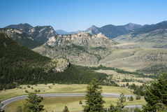 View of Chief Joseph Scenic Byway. View of the mountains and valleys along the Chief Joseph Scenic Byway in Wyoming Royalty Free Stock Photography