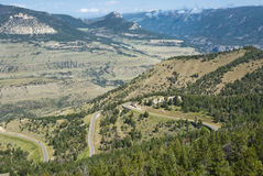 View of Chief Joseph Scenic Byway. View of the mountains and valleys along the Chief Joseph Scenic Byway in Wyoming Royalty Free Stock Photos