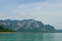 View in Chiew Larn Lake, Khao Sok National Park, Thailand. Royalty Free Stock Images