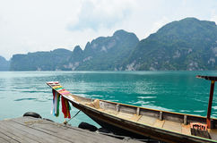View in Chiew Larn Lake, Khao Sok National Park, Thailand. Stock Photo
