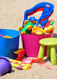 View of children's toys in the sandbox Royalty Free Stock Images