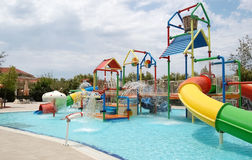 View on childrens aqua park in the high class hotel in Side resort,Turkey. Side, Turkey - June 2, 2015: View on childrens aqua park in high class hotel Ali Bey royalty free stock image