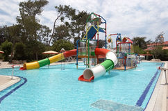 View on childrens aqua park in the Turkish hotel high class in S. Side, Turkey - June 2, 2015: View on childrens aqua park in the Turkish hotel high class Ali royalty free stock photo