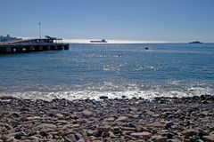 View of chilean beach and port Royalty Free Stock Images