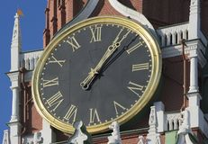 View of the chiming clock. On the Spassky Tower of the Kremlin Stock Images