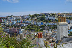 View of chimney pots and houses Brixham Torbay Devon Endland UK Stock Photography