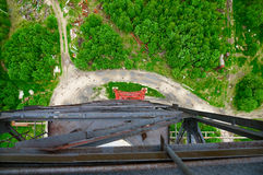 View From The Chimney Trunk. View on earth from the chimney trunk. Base jumping. Fish eye Royalty Free Stock Photo