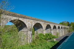 Chirk viaduct and aquaduct stock photo