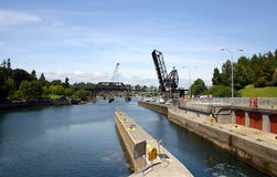 View of Chittenden Locks in Ballard Stock Photos