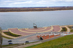 View of Chkalov staircase, boat Volga Flotilla Hero. and Volga River, Nizhny Novgorod, Russia Stock Image