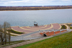 View of Chkalov staircase, boat Volga Flotilla Hero. and Volga River, Nizhny Novgorod, Russia. View of Chkalov staircase, boat Volga Flotilla Hero. and the Volga Royalty Free Stock Photo